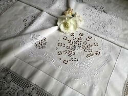 Vintage Hand Embroidered Irish Linen Lace Tablecloth Madeira Peacock Garden