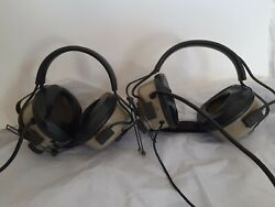 Two Vintage Roanwell Us Military Headset Microphone Aviation Parts Only Untested