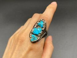 Vintage Navajo Native Indian Turquoise Twisted Ring Size 9.25