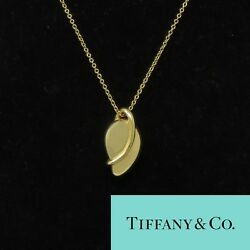 Nyjewel And Co Elsa Peretti 18k Yellow Gold Leaf Bean Necklace