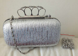 Belle Collection Evening Silver Clutch Handbag Purse Wallet Clear Stones NEW ** $27.99