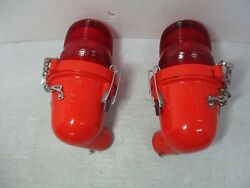 2 Hughey And Phillips Runway, Tower, Obstruction, Man Cave Lights Red Glass Lens