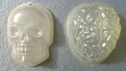 Pair Of Brain And Skull Molds Zombie Halloween Party Gelatin Ice Sculpture Candy