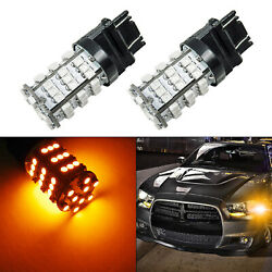 2x 3157 3156 54-smd Led Amber Yellow Turn Signal Parking Drl Lights Replacement