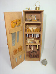 90and039s Uk Artisan Terry Mcalister Wooden 34 Tool Cabinet Chest Dollhouse Mini 112