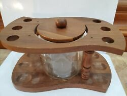 Vintage Walnut 6 Pipe Pipe Rest, Rack, Wood Stand, Glass Humidor 11 X 5 1849.43