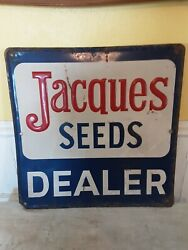 Vintage Jacques Seed Dealer Embossed Metal Sign...old And Original 24in X 24in.