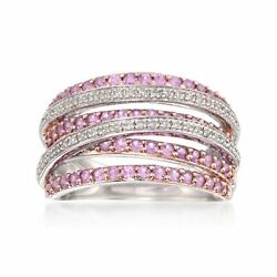 Ross-simons Pink Sapphire And Diamond Highway Ring In Sterling Silver