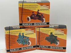 Xonex Heavy Cast Iron Limited Edition Set Of 3 Harley 1930and039s Police Motorcycles