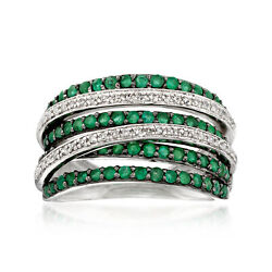 .80 Ct. T.w. Emerald And .15 Ct. T.w. Diamond Highway Ring In Sterling Silver