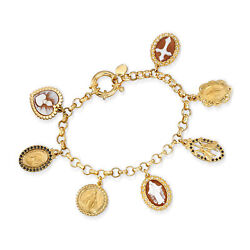 Italian Brown Shell Cameo And Black Cz Religious Charm Bracelet In 18kt Gold Over