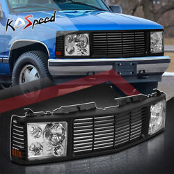 Black Front Grille Composite Chrome Headlights For 94-00 Chevy Gmc C/k Suburban