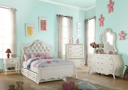 Acme Furniture Edalene Pearl White Youth Full Bed Twin Trundle 7 Piece Bed Set