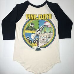 Vtg 80s Pink Floyd The Wall Concert Tour T-shirt 3/4 Sleeve Double Sided Sz M