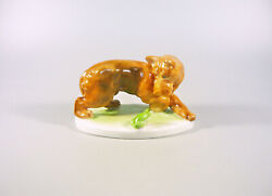 Herend Frog And Brown Dog Antique Handpainted Porcelain Figurine 1940and039s B021