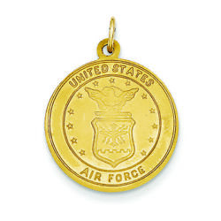 14k Yellow Gold Us Air Force Saint Christopher Round Medal Charm Pendant