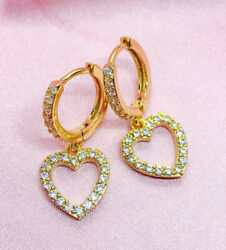 1.00ct Natural Round Diamond 14k Solid Yellow Gold Hoops Heart Earring