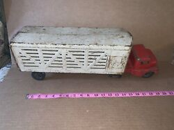 Vintage Pressed Steel Structo Farm Cattle Semi And Trailer