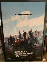 Fast And Furious Cast Signed Poster Including Paul Walker 45 Of 100 Rare