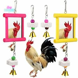 2pck Chicken Mirror W/ Bell Wooden Pecking Toy And 4pc Beak Grinding Molar Stone