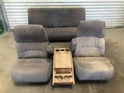90 Ford F350 Left Right Front And Rear Crew Cab Manual Cloth Blue Seats W Console