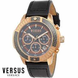Versus By Versace Vsp380717 Admiralty Rose Gold Black Leather Menand039s Watch New