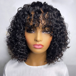 Brazilian Water Wave Fiber Wig And Bangs Full Machine Womenand039s Wig With Bangs