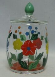 Vintage Hand Painted Glass Marmalade Jar With Lid Cold Painted Flowers 5 W/ Lid