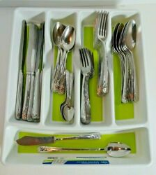 Wallace Trellis Stainless Flatware 54 Pcs Knives Fork Spoons