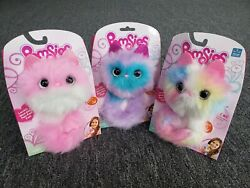 Pomsies Set Of 3 Pinky Boots Blue Sherbert -lot Of 3- Interactive Plush Toy