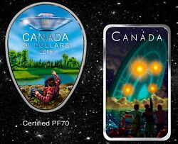 2018 Falcon Lake Pf70 And 2019 Shag Harbour Ufo Incident Silver Coins, Canada, Rcm