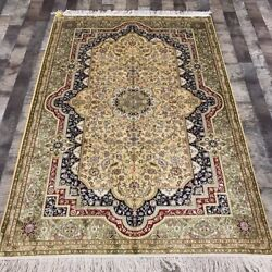 Yilong 4and039x6and039 Handwoven Silk Carpet Traditional Home Decor Area Rug Lh981b