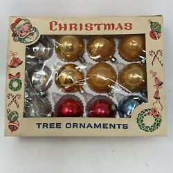 Christmas Vintage Glass 12 Multi-colored Red Gold Ornaments Bulbs Incl Box
