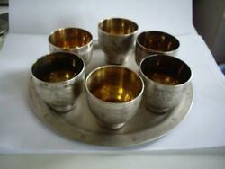 Russia Russian Ussr Art Nouveau Silverplate Tray Dish Cups Liqueur Set