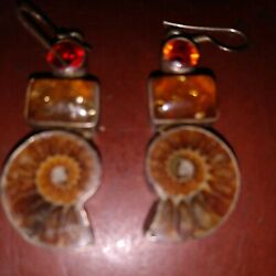 AMMONITE FOSSIL AND AMBER EARRINGS 1 3 4quot; $12.99