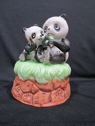 Panda And Baby Musical Figurine Sitting On Grass On Top Of Stones Music Works