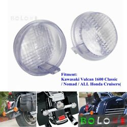 2pc Motorcycle Clear Lens Turn Signal Light Flat Lens Covers For Honda Cruisers