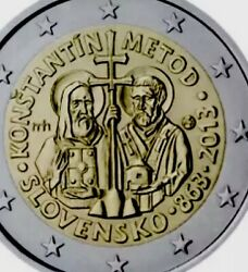Slovakia 🇸🇰 Coin 2€ Euro 2013 Commemorative Konstantin Metod New Unc From Roll