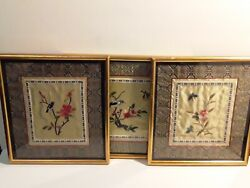 Estate Lot Of 3 Antique Vintage Chinese Hand Embroidered Silk Tapestries Framed