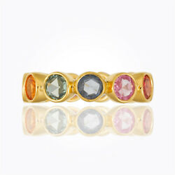 Temple St. Clair 18k Yellow Gold Eternity Ring W/ Rose Cut Mixed Sapphire Size 6