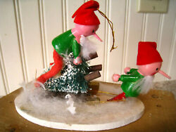 """Vintage Christmas Ornament 4"""" Wood Elves W/sled And Bottle Brush Trees Cute"""