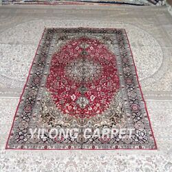 Yilong 5and039x8and039 Red Handmade Silk Carpet Kid Friendly Easy To Clean Rug Mc411b