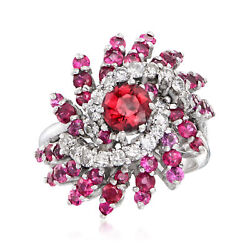 Vintage Rhodolite Garnet And Ruby Ring With Diamonds In 14kt White Gold Size 6.25