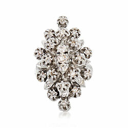 C. 1980 Vintage 1.35 Ct. T.w. Diamond Cluster Ring In 14kt White Gold. Size 6.5