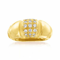 Vintage Mauboussin Diamond Ribbed Dome Ring In 18kt Gold Size 6