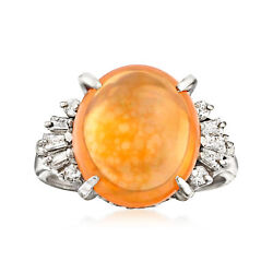 C. 1970 Vintage Fire Opal And .32 Ct. T.w. Diamond Ring In Platinum. Size 5.5