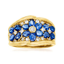 Vintage Sapphire And Diamond Flower Ring In 18kt Gold Size 6.5