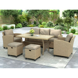 6x Patio Furniture Couch Outdoor Pe Rattan Wicker Cushioned Sectional Sofa Set