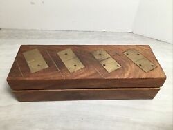 Vintage Wooden And Brass Inlaid Dominoes Set Antique Collectible