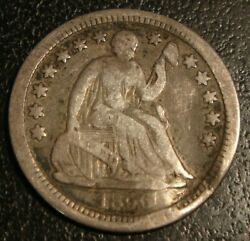 1856-o New Orleans Mint Seated Liberty Half Dime 5c Silver Coin Vf Details-bent